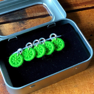 Dorset Button Stitch Markers - Small TJFrog Stitch Markers & Row Counters Neon Green