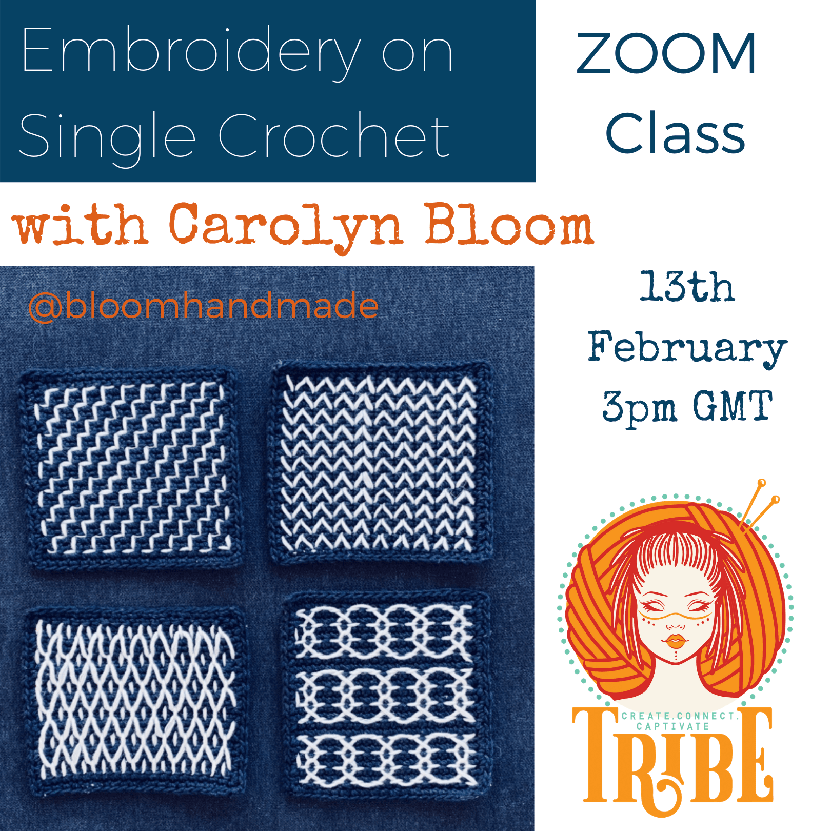 Embroidery on Crochet with Carolyn Bloom tribeyarns Event