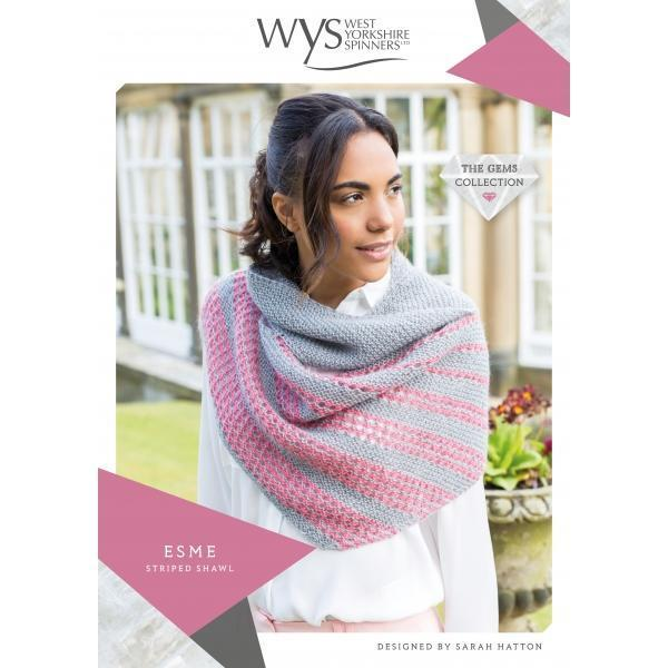 Esme Striped Shawl Pattern West Yorkshire Spinners Knitting Pattern