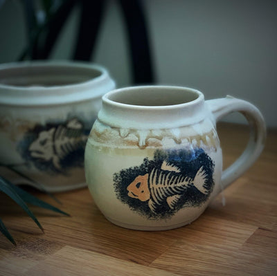 Exclusive Ceramic Mug with Hand Drawn Fish tribeyarns Other Stuff