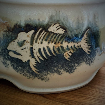 Exclusive Ceramic Yarn Bowl with Hand Drawn Fish tribeyarns Other Stuff
