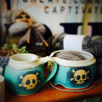 Exclusive Ceramic Yarn Bowl with Hand Drawn Skull tribeyarns Other Stuff