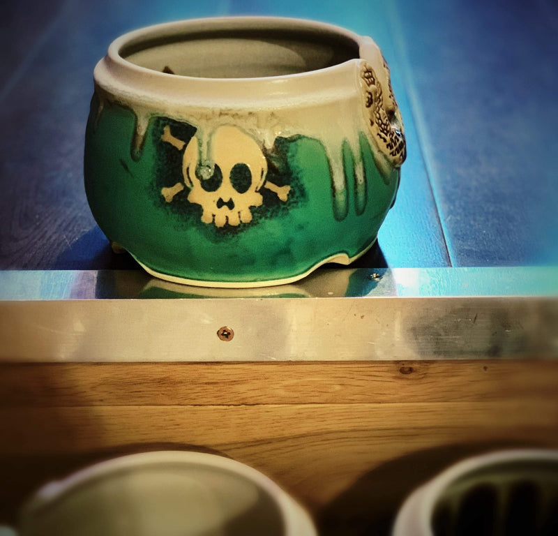 Exclusive Ceremic Yarn Bowl with Hand Drawn Skull tribeyarns Other Stuff Default Title
