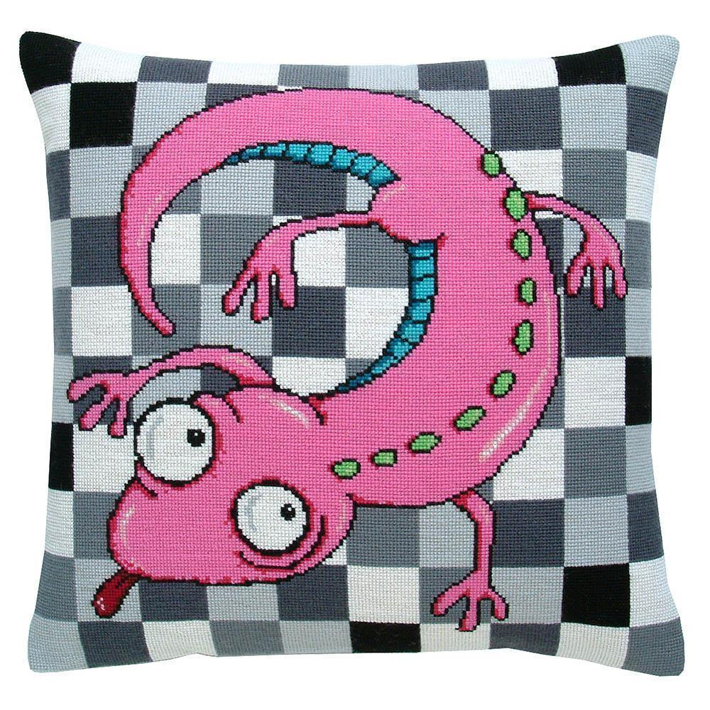 Fru Zippe: Pink Lizard Pillow Cross Stitch Kit Fru Zippe Other Stuff