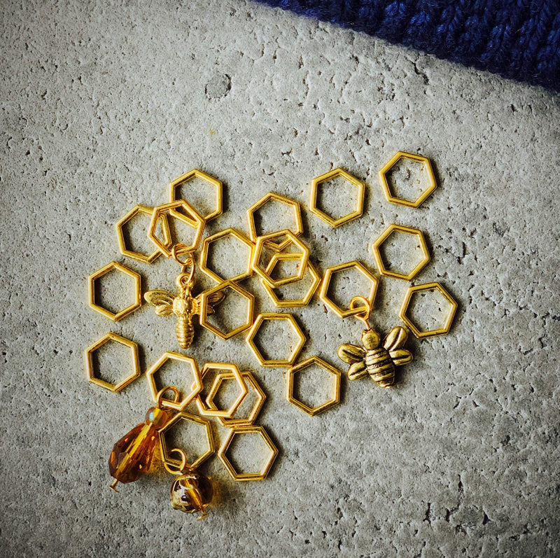 Gold Beekeeper Hexagon Stitch Marker Set An Caitín Baeg Stitch Markers & Row Counters