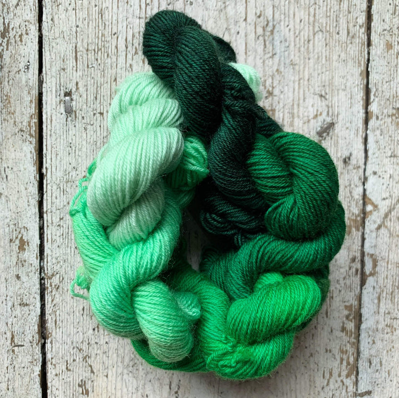 Gradient Mini Skein Set RiverKnits Yarn Lime Gradient