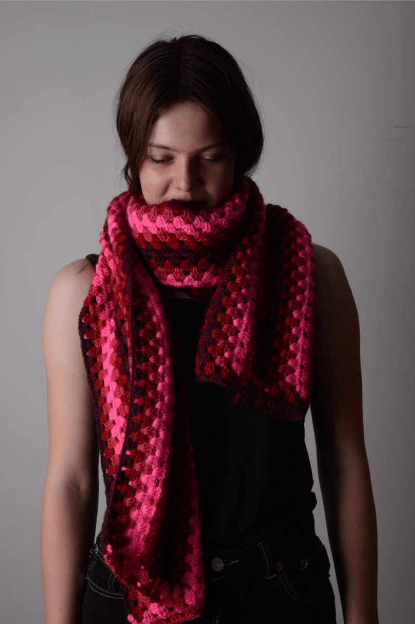 Granny Stripes Scarf CROCHET Pattern Mrs Moon Pattern