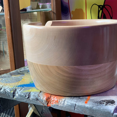 Hand Turned Yarn Bowl - Cherry & Field Maple tribeyarns Other Stuff