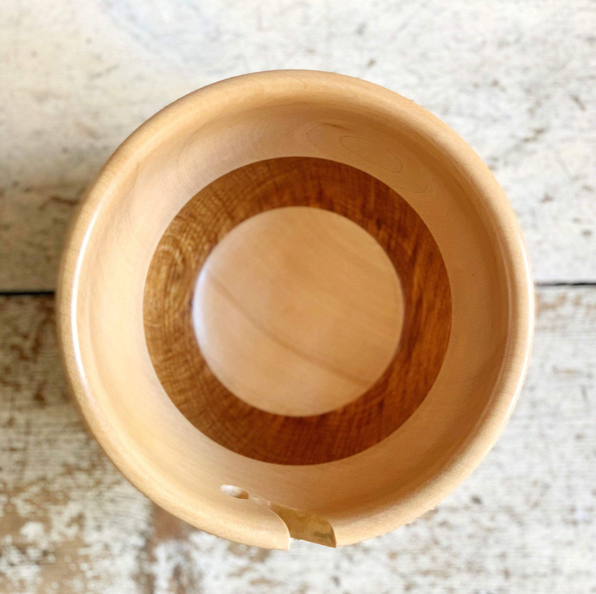 Hand Turned Yarn Bowl - Field Maple & Brown Oak tribeyarns Other Stuff