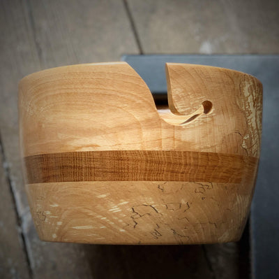 Hand Turned Yarn Bowl - Spalted Beech & Brown Oak Extra Large tribeyarns Other Stuff