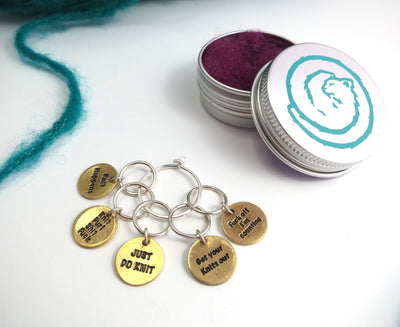 """Knit Happens"" Stitch Markers Set FizzCat Stitch Markers & Row Counters Brass"