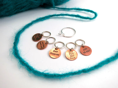 """Knit Happens"" Stitch Markers Set FizzCat Stitch Markers & Row Counters Copper"