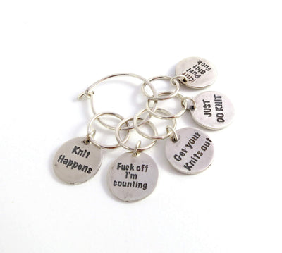 """Knit Happens"" Stitch Markers Set FizzCat Stitch Markers & Row Counters Silver"