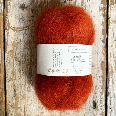 Le Petit Silk & Mohair Biches & Bûches Yarn Dark Orange Grey Le Petit Mo