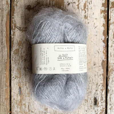 Le Petit Silk & Mohair Biches & Bûches Yarn Light Grey Le Petit Mo