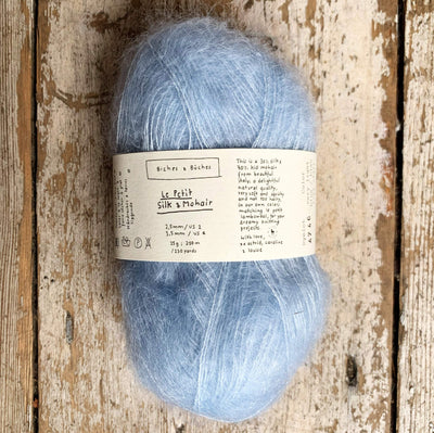 Le Petit Silk & Mohair Biches & Bûches Yarn Very Light Blue Le Petit Mo