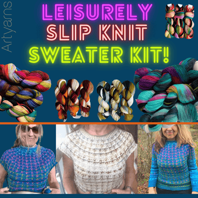 Leisurely Slip Knit Sweater Kit Artyarns Kits & Combos