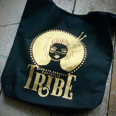 Limited Edition BLACK & FOIL Tribe Canvas Sling Bag tribeyarns Bags & Cases Gold