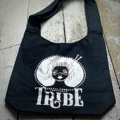 Limited Edition BLACK & FOIL Tribe Canvas Sling Bag tribeyarns Bags & Cases Silver