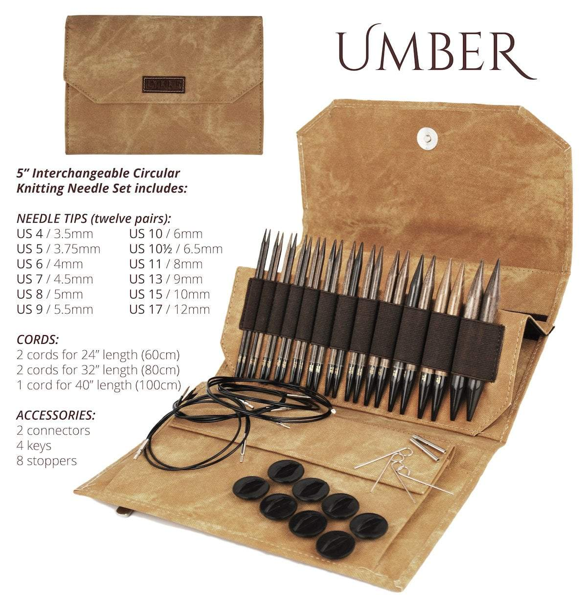 "LYKKE Umber Interchangeable 5"" Set LYKKE Knitting Needles"