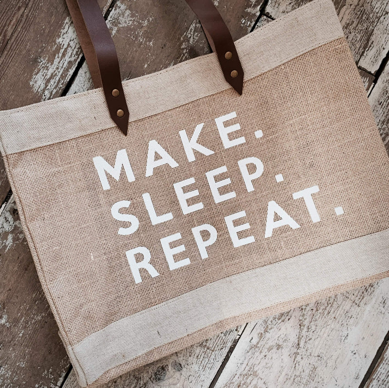 Make Sleep Repeat Tote Bag tribeyarns Bags & Cases