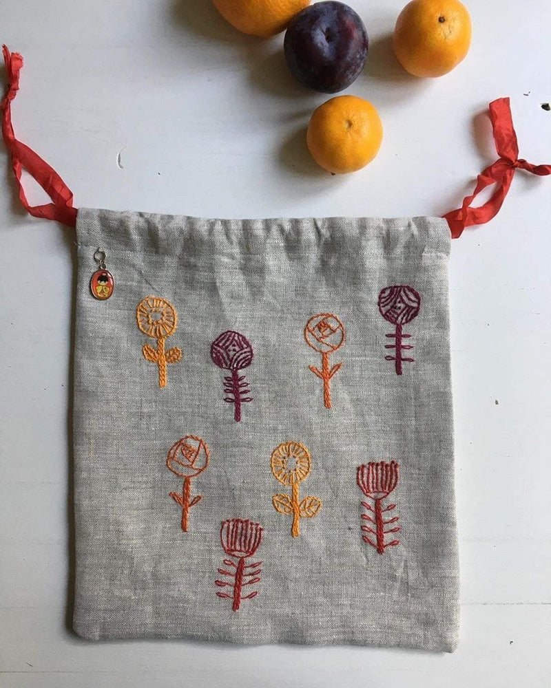 meinikigai Hand Embroidered Project Bags meinikigai Bags & Cases Wild Angelica