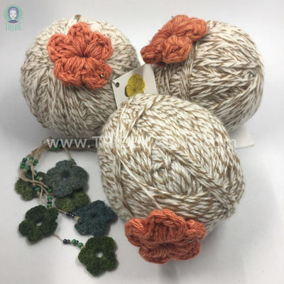 Merino-Eri Silk Blend Peoli Yarn Ivory-Walnut M2