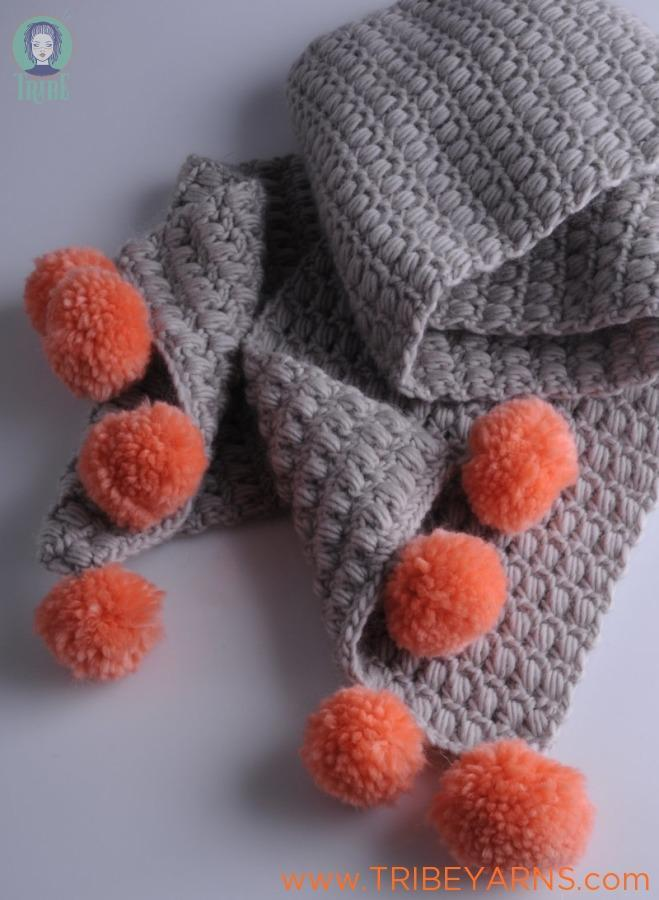 Pompom Scarf CROCHET Pattern Mrs Moon Pattern