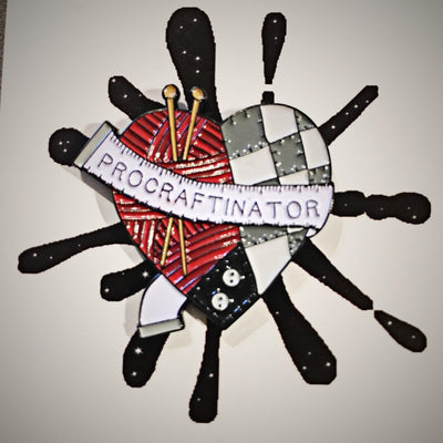 Procraftinator Enamel Pin Hartiful Buttons & Fasteners Black Pro