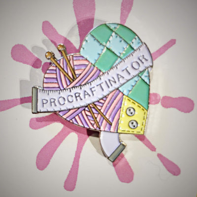 Procraftinator Enamel Pin Hartiful Buttons & Fasteners Pink Pro