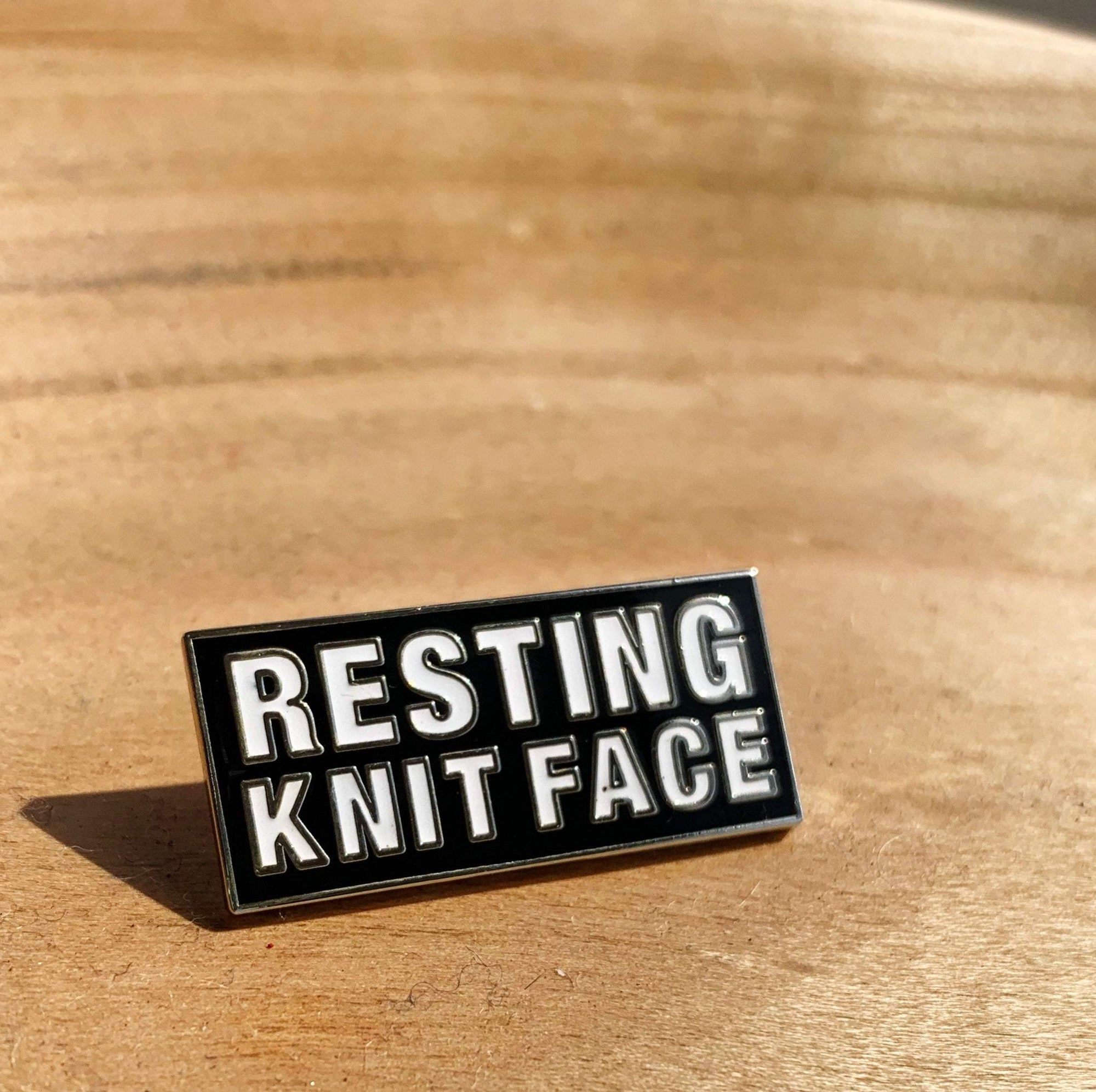Resting Knit Face Enamel Pin Westknits Bags & Cases