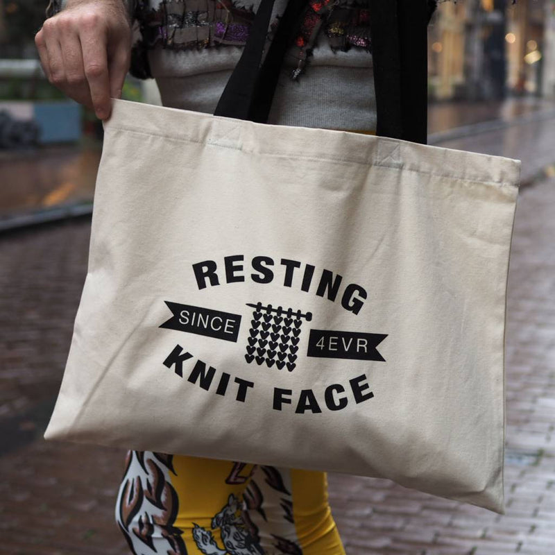 Resting Knit Face Tote Bag Westknits Bags & Cases
