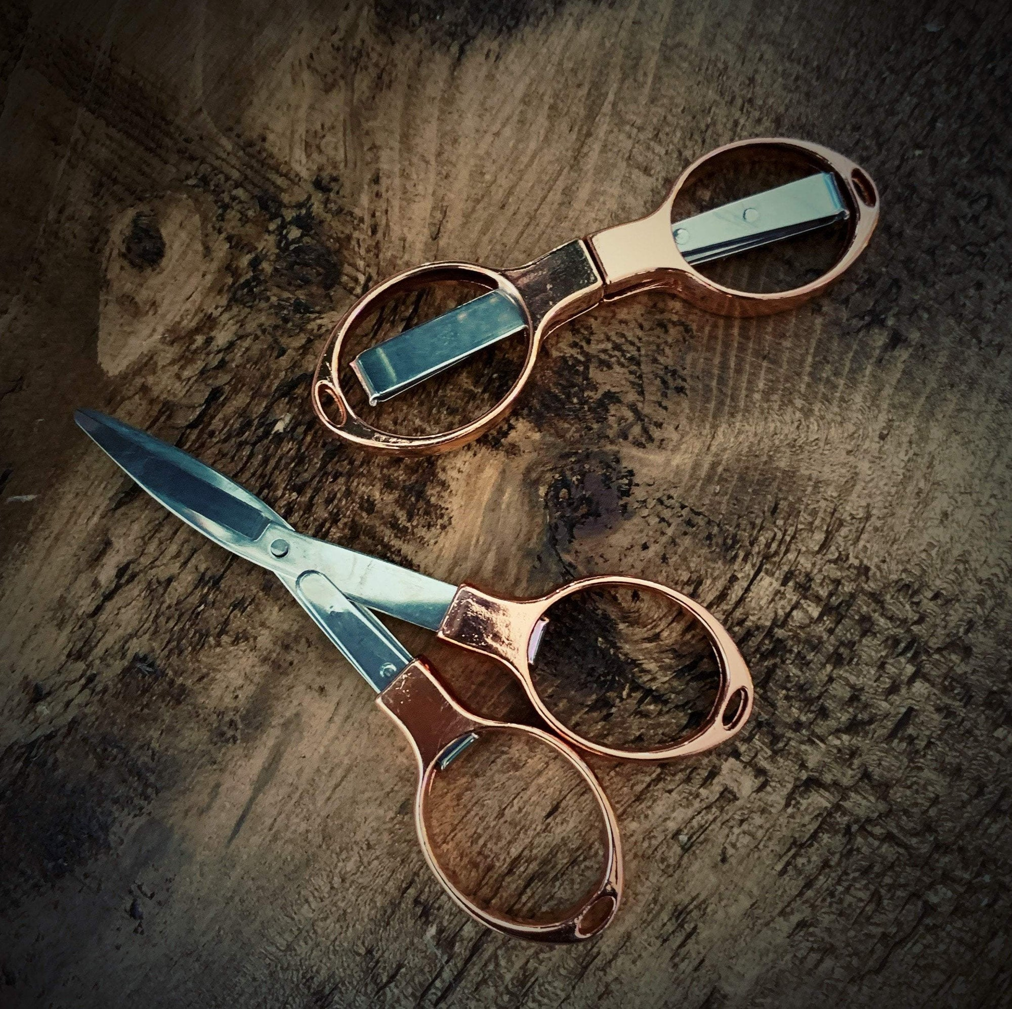 Rose Gold Folding Scissors tribeyarns Scissors & Snips