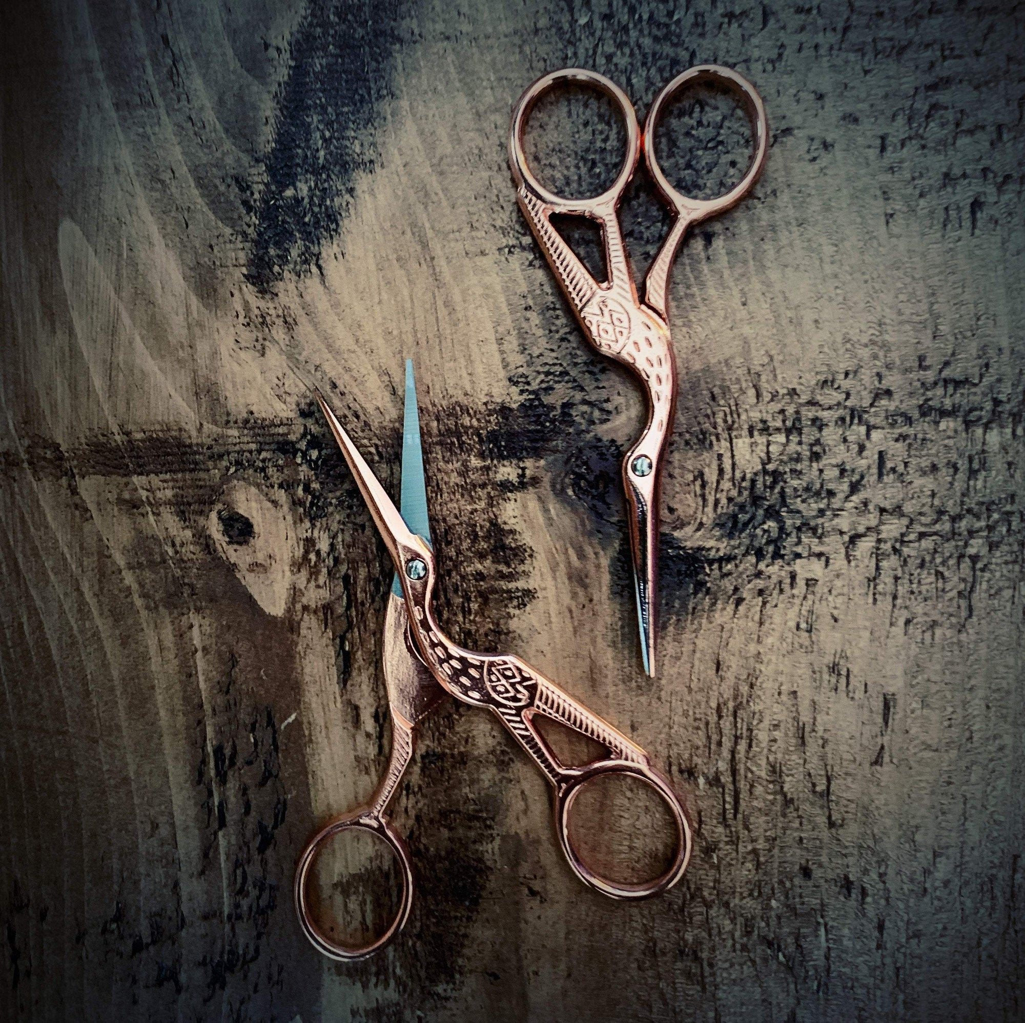 Rose Gold Stork Scissors tribeyarns Scissors & Snips