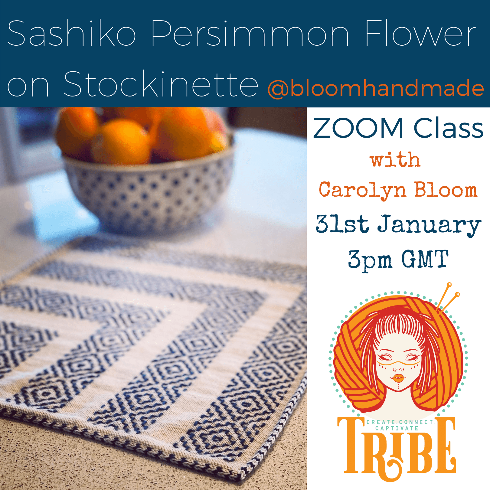 Sashiko Persimmon Flower on Stockinette with Carolyn Bloom tribeyarns Event