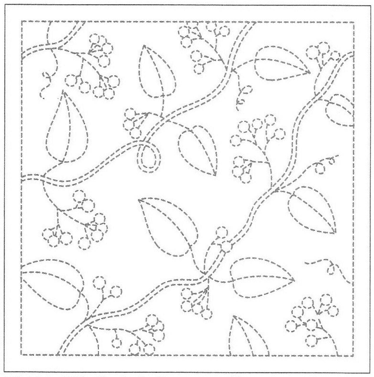Sashiko Sampler - Leaves and Berries Navy Olympus Other Stuff