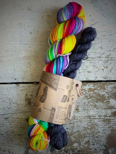 Self-Striping Sock Yarn with Contrast Set Fab Funky Fibres Yarn Petit Dark Grey