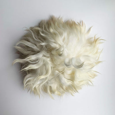 Sheepskin Press On Pom Pom tribeyarns Pom Pom Cream Crimp