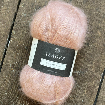 Silk Mohair Isager Yarn in Light Pink