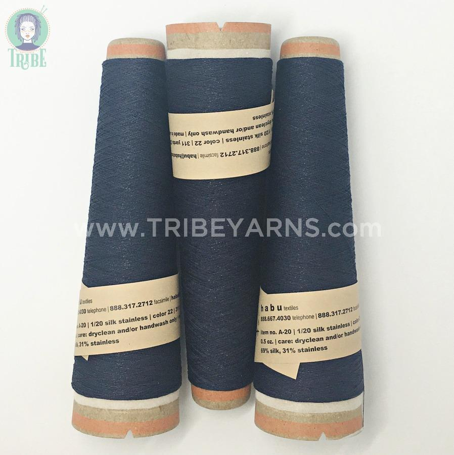 Silk Stainless Steel (a-20) Habu Textiles Yarn 22 navy