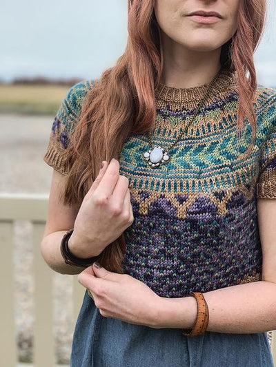 Soldotna Crop Sweater Pattern by Caitlin Hunter tribeyarns Pattern