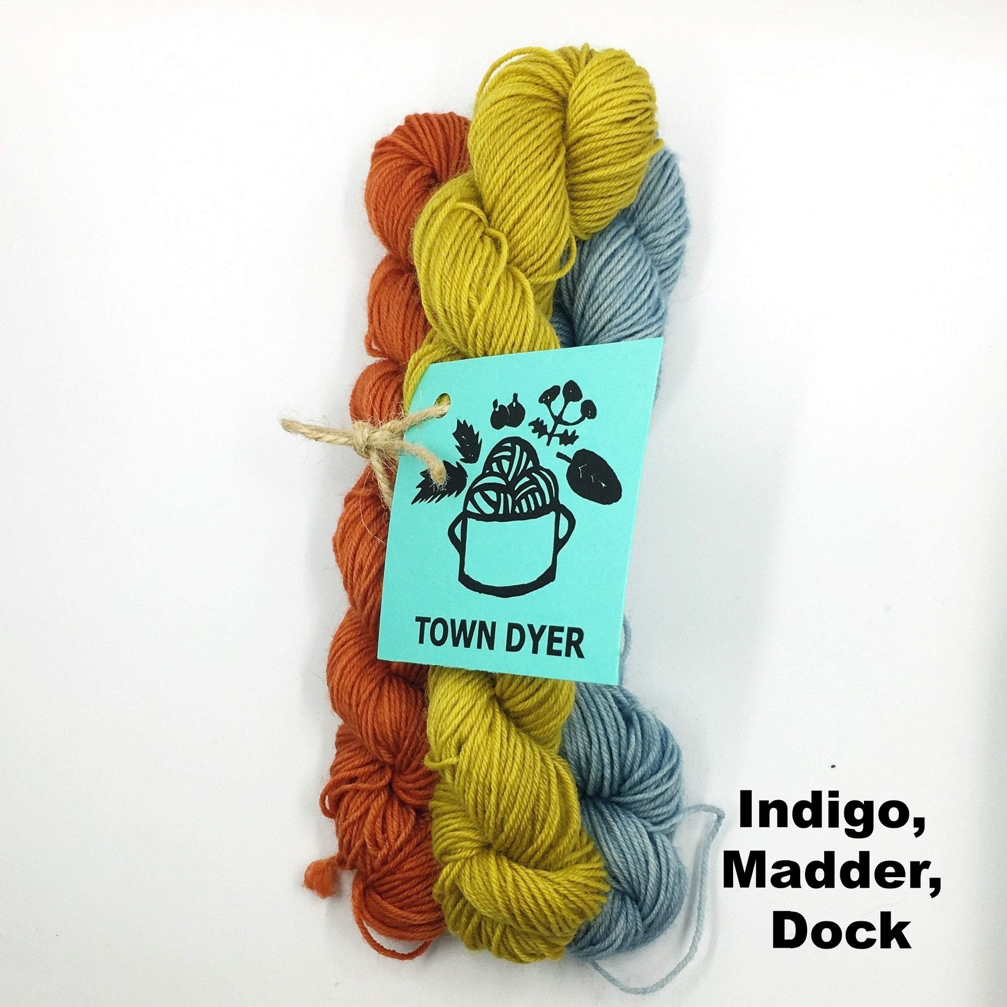Town Dyer BFL Mini-Bundles Town Dyer Yarn Indigo, Madder, Dock