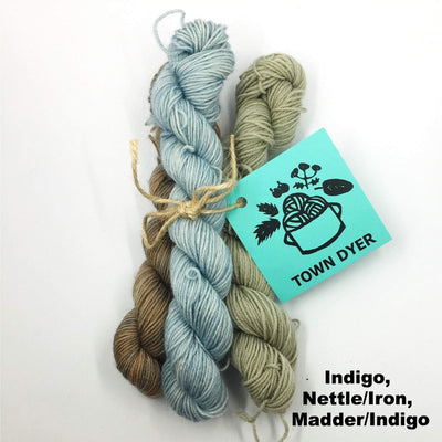 Town Dyer BFL Mini-Bundles Town Dyer Yarn Indigo, Nettle/Iron, Madder/Indigo