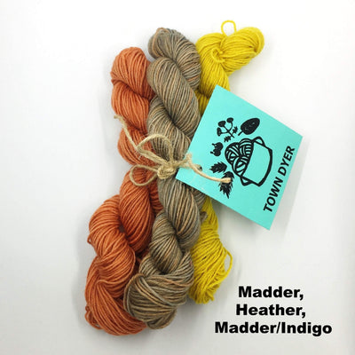 Town Dyer BFL Mini-Bundles Town Dyer Yarn Madder, Heather, Madder/Indigo