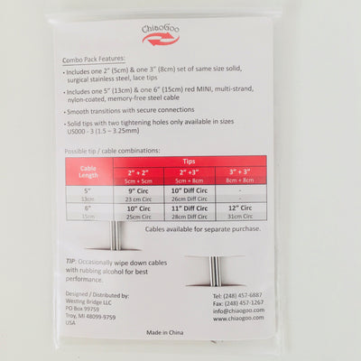"TWIST Short Combo 2"" & 3"" (5 & 8cm) 1.5mm ChiaoGoo Knitting Needles"