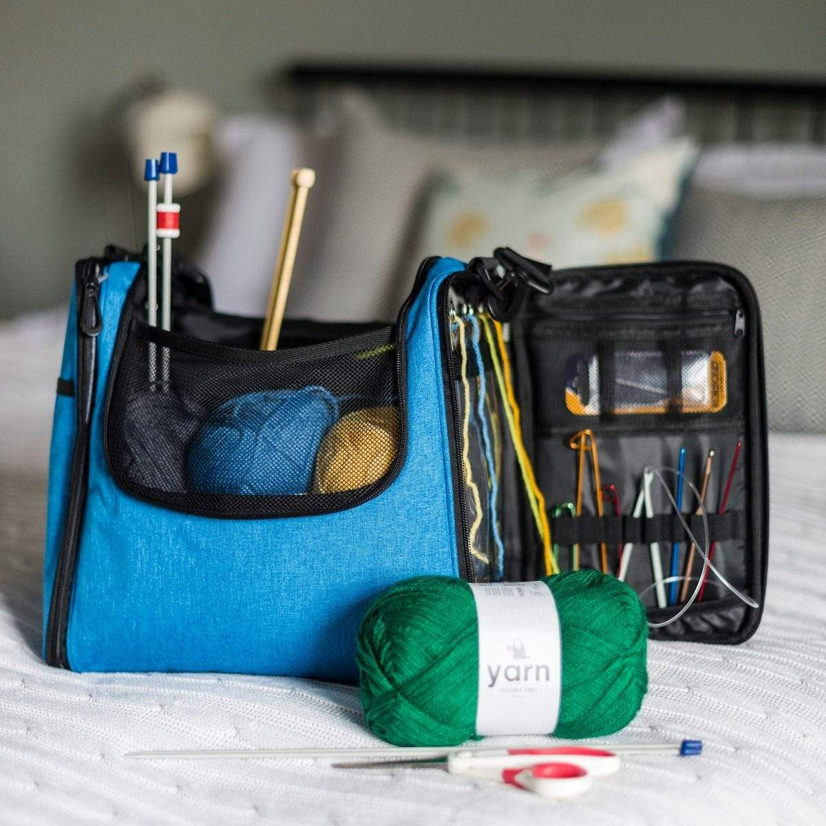Yarn Knitting Storage Bag tribeyarns Bags & Cases Blue