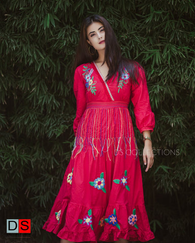 Embroidered Boho Midi Dress