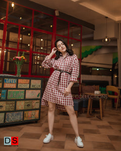 Oversized Checkered Shirt Dress
