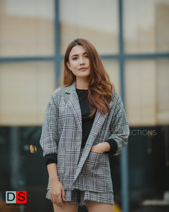 Checkered Blazer And Shorts Set