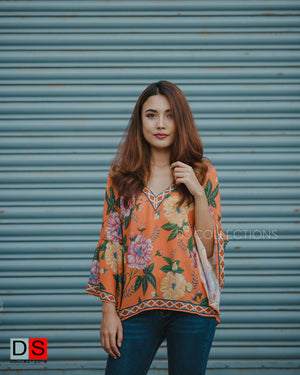 V-neck Bell Sleeve Floral Top